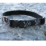 Dog Collar Adjustable Nylon Bling Bones 16-28 1 inch wide