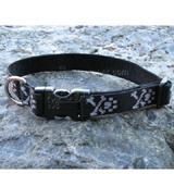 Dog Collar Adjustable Nylon Bling Bones 25-31 1 inch wide