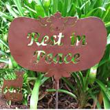 Haute Steel Garden Stake Rest in Peace
