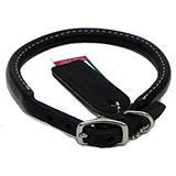 Circle T Leather Dog Collar Rolled Black 16 inch