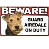 Sign Guard Airedale On Duty 8 x 4.75inch Laminated Cardstock