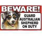Sign Guard Australian Shepherd On Duty 8x4.75 inch Cardstock