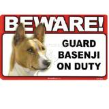 Sign Guard Basenji On Duty 8 x 4.75 inch Laminated Cardstock