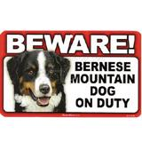 Sign Guard Bernese Mountain Dog On Duty 8x4.75inch Cardstock
