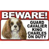 Sign Guard Cavalier Spaniel On Duty 8 x 4.75 inch Laminated