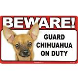 Sign Guard Chihuahua Tan On Duty 8 x 4.75 inch Laminated