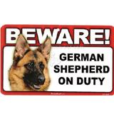 Sign Guard German Shepherd On Duty 8 x 4.75 inch Laminated