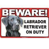 Sign Guard Laborador Black On Duty 8 x 4.75 inch Laminated