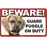 Sign Guard Puggle On Duty 8 x 4.75 inch Laminated