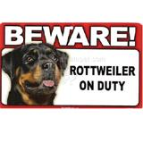 Sign Guard Rottweiler On Duty 8 x 4.75 inch Laminated