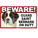 Sign Guard Saint Bernard On Duty 8 x 4.75 inch Laminated