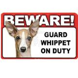 Sign Guard Whippet On Duty 8 x 4.75 inch Laminated