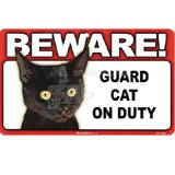 Sign Guard Cat Black On Duty 8 x 4.75 inch Laminated