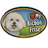 Dog Breed Image Magnet Oval Bichon Frise