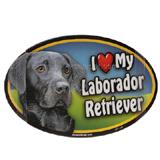 Dog Breed Image Magnet Oval Laborador Black