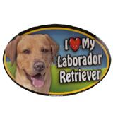 Dog Breed Image Magnet Oval Laborador Yellow title=