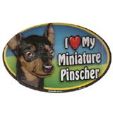 Dog Breed Image Magnet Oval Minature Pinscher