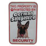 Sign German Shepherd Pawtected 12 x 18 inch Aluminum