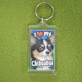 Plastic Keyring Chihuahua Long Haired