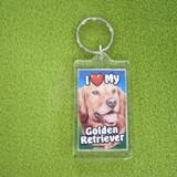 Plastic Keyring Golden Retriever