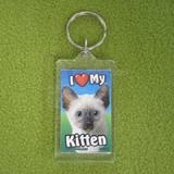 Plastic Keyring Kitten Siamese