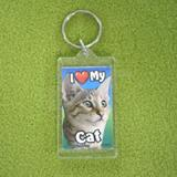 Plastic Keyring Cat Tabby Brown