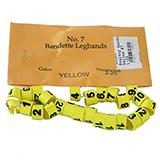 Poultry Numbered Leg Bands Yellow Size 7 Numbered 1-25