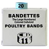 Poultry Numbered Leg Bands Blue Size 11 Numbered 1-25