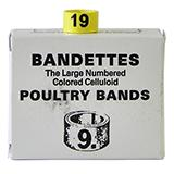Poultry Numbered Leg Bands Yellow Size 9 Numbered 1-25