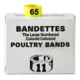 Poultry Numbered Leg Bands Yellow Size 11 Numbered 51-75