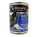Dave�s 95% Premium Meat Canned Dog Food Chicken 13oz case