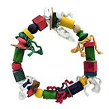 ParroTopia Round With Blocks Large Natural Bird Toy