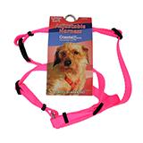 Adjustable XSmall Dog Harness 3/8-inch Neon Pink Nylon