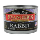 Evanger's Grain Free Rabbit Canned Dog and Cat Food 6 oz