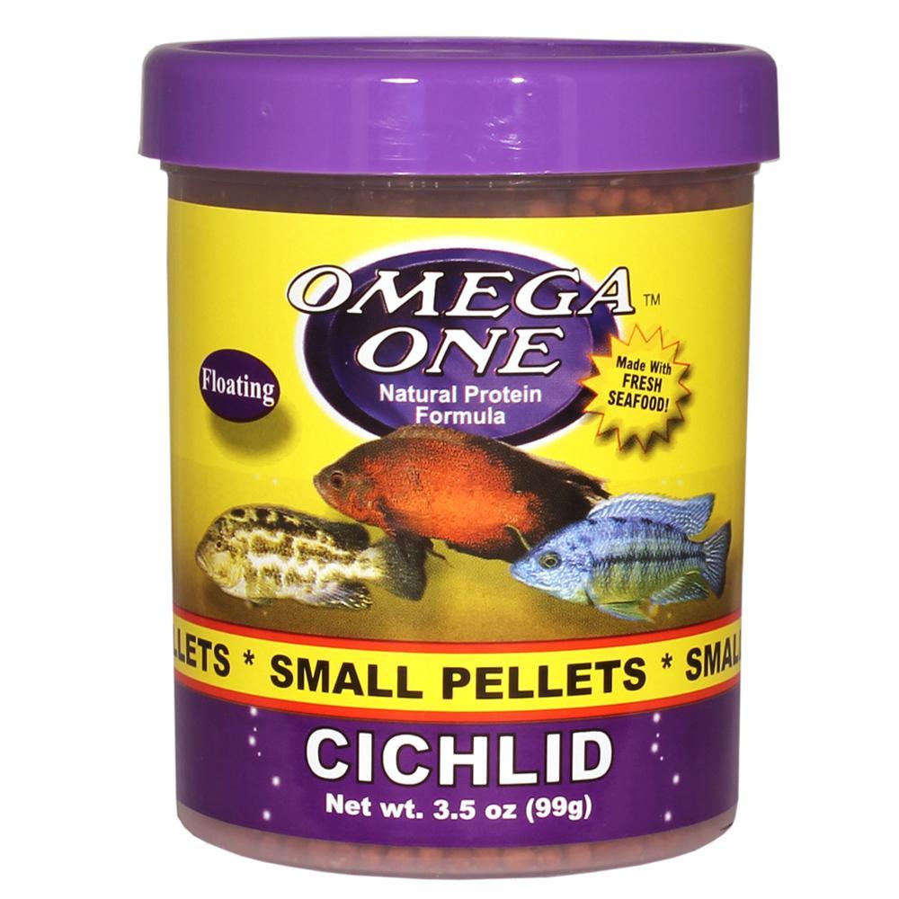 Omega one small floating cichlid pellets fish food 3 5 oz for Cichlid fish food