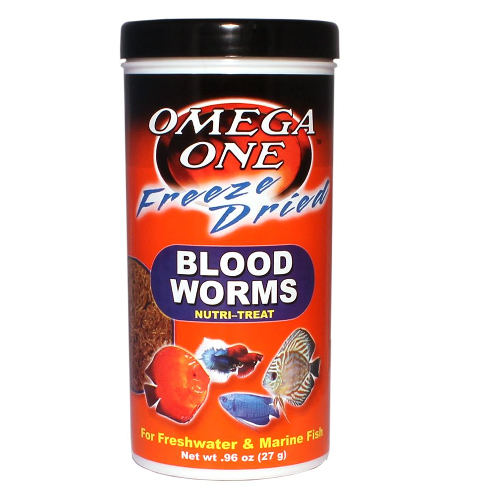 Omega One Freeze-Dried Bloodworms Fish Food .96 ounce