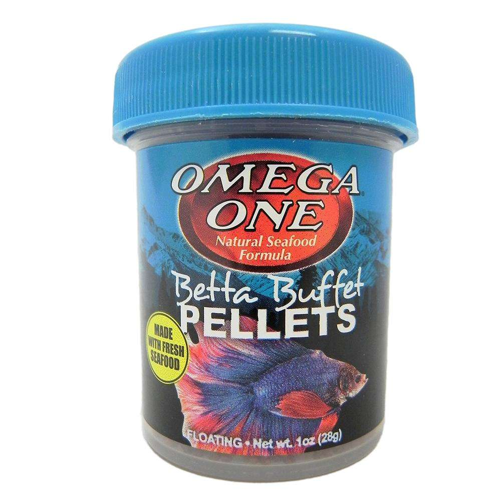 Omega one betta buffet floating pellets fish food 1 oz for Food for betta fish