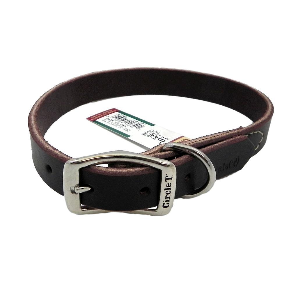Circle T Latigo Single Layer Leather Dog Collar 18 inch