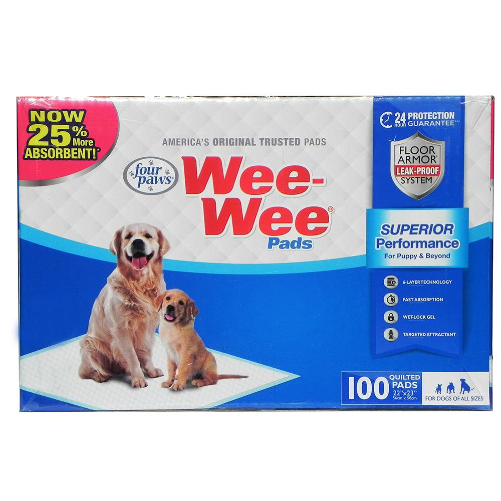 Four Paws Wee Wee Pads 100 Count Box Puppy Housebreaking