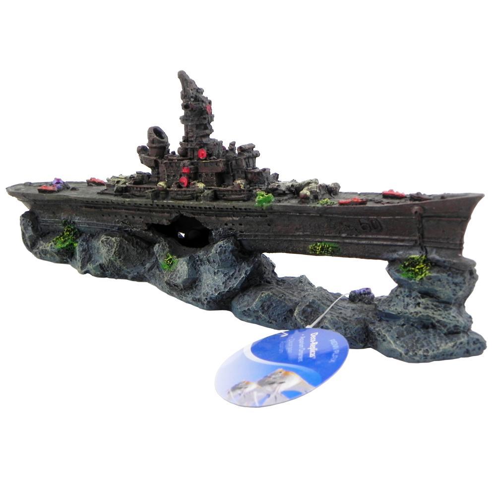 Sunken-Wreck Battleship Aquarium Ornament