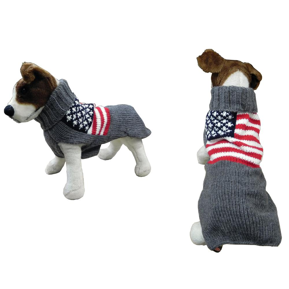Handmade Dog Sweater Wool American Flag Large