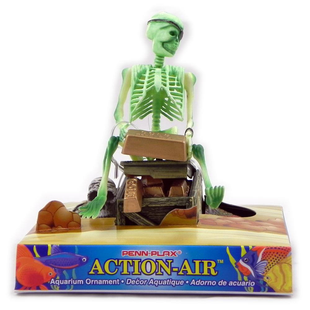 Penn Plax Action Skeleton with Gold Aquarium Ornament