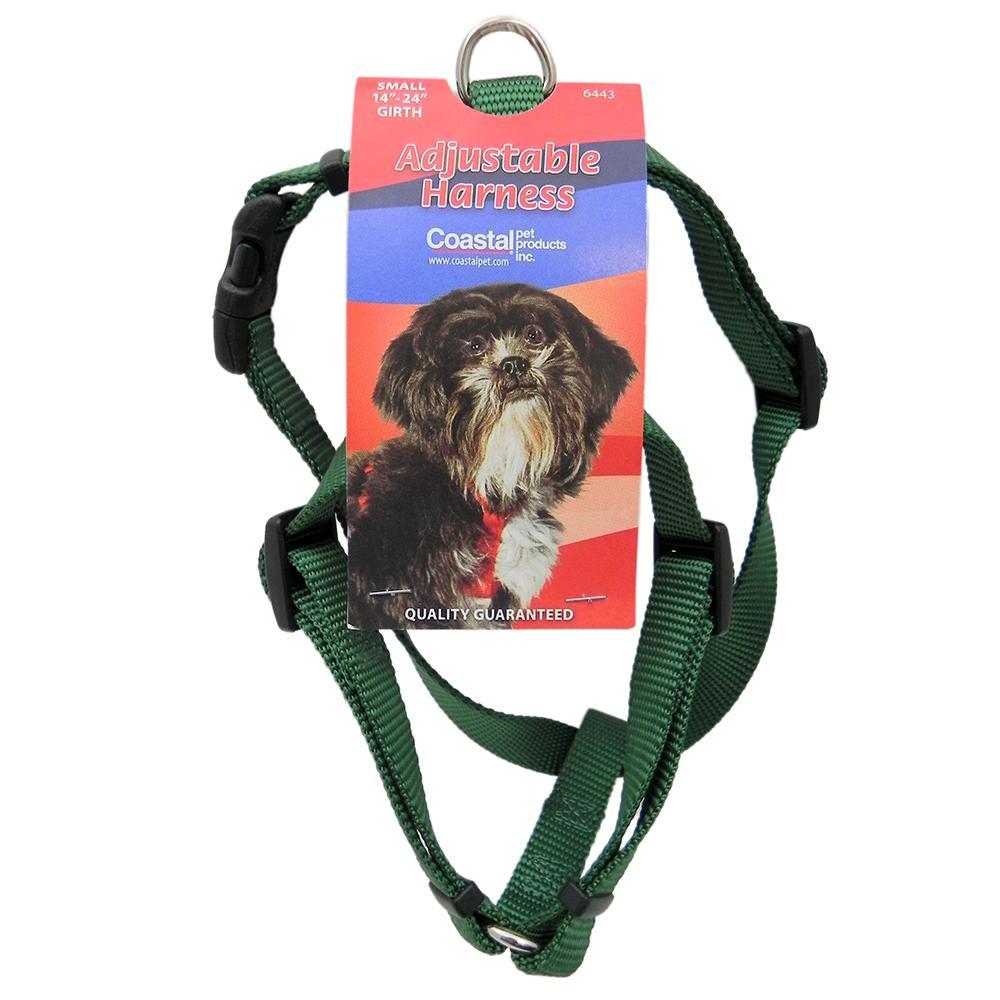 Adjustable Small Dog Harness 5/8-inch Green Nylon