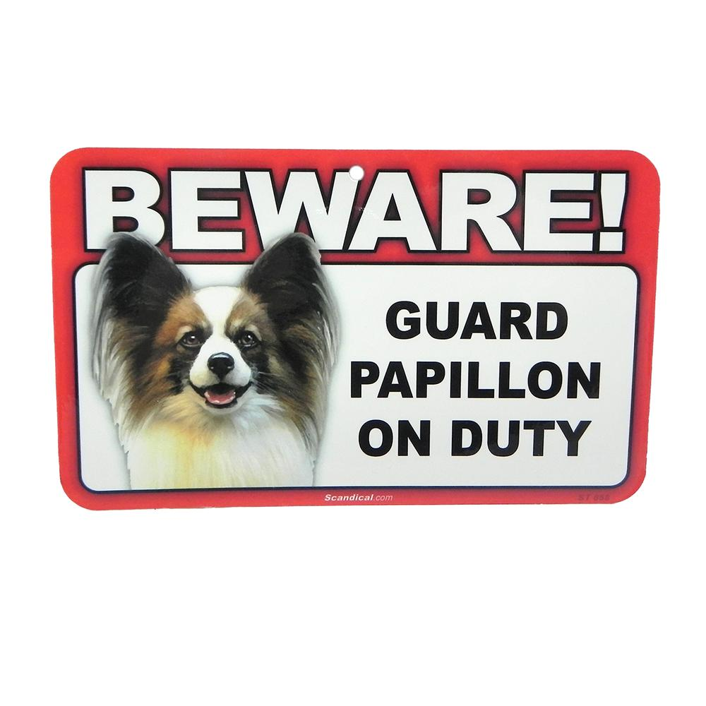 Sign Guard Papillon On Duty 8 x 4.75 inch Laminated