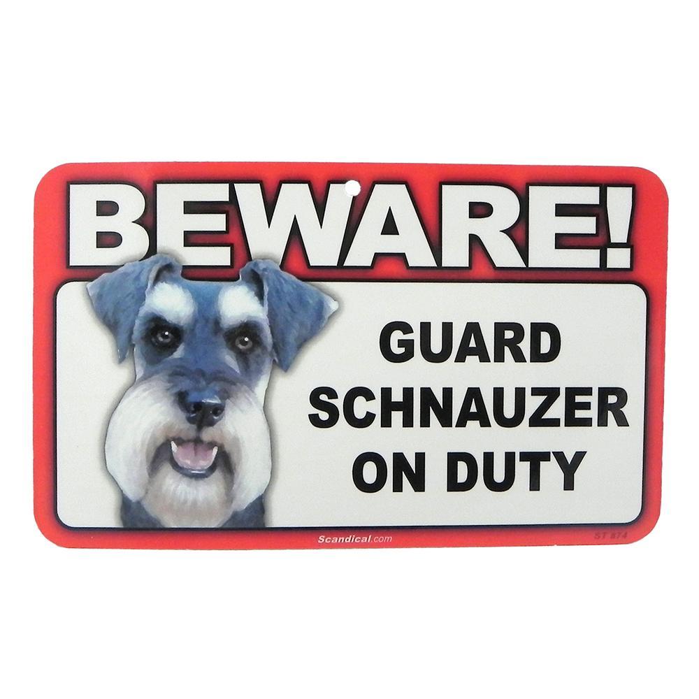 Sign Guard Schnuazer On Duty 8 x 4.75 inch Laminated