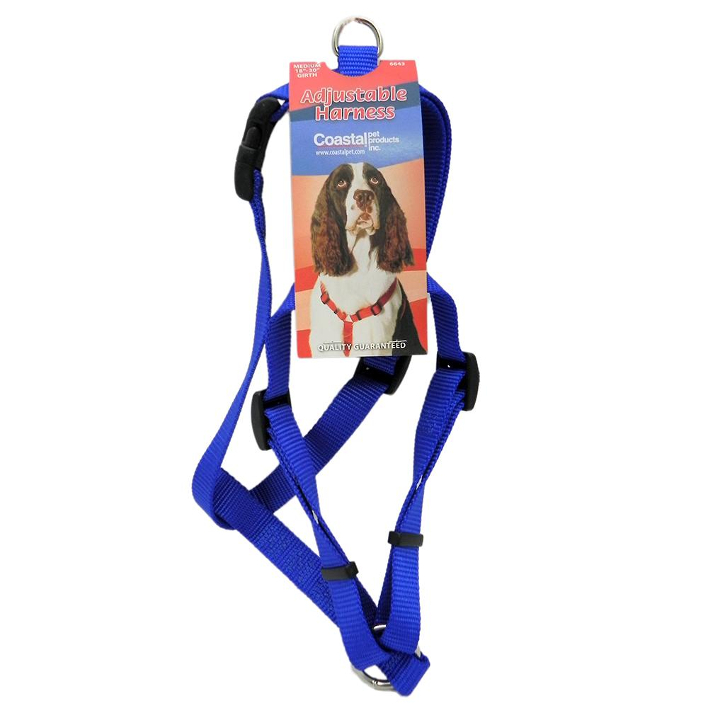 Adjustable Medium Dog Harness 3/4-inch Blue Nylon