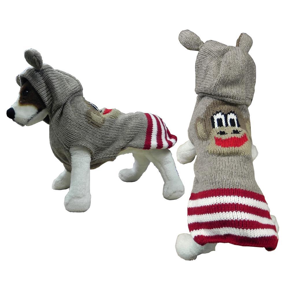 Handmade Dog Sweater Wool w/Hood Monkey Medium