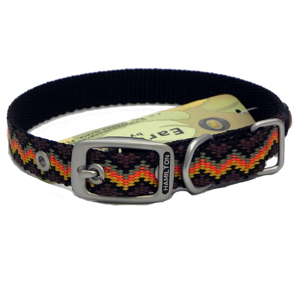 Hamilton Nylon Dog Collar Brown Weave 5/8 x 16-inch