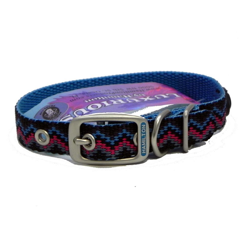 Hamilton Nylon Dog Collar Ocean Weave 5/8 x 18-inch