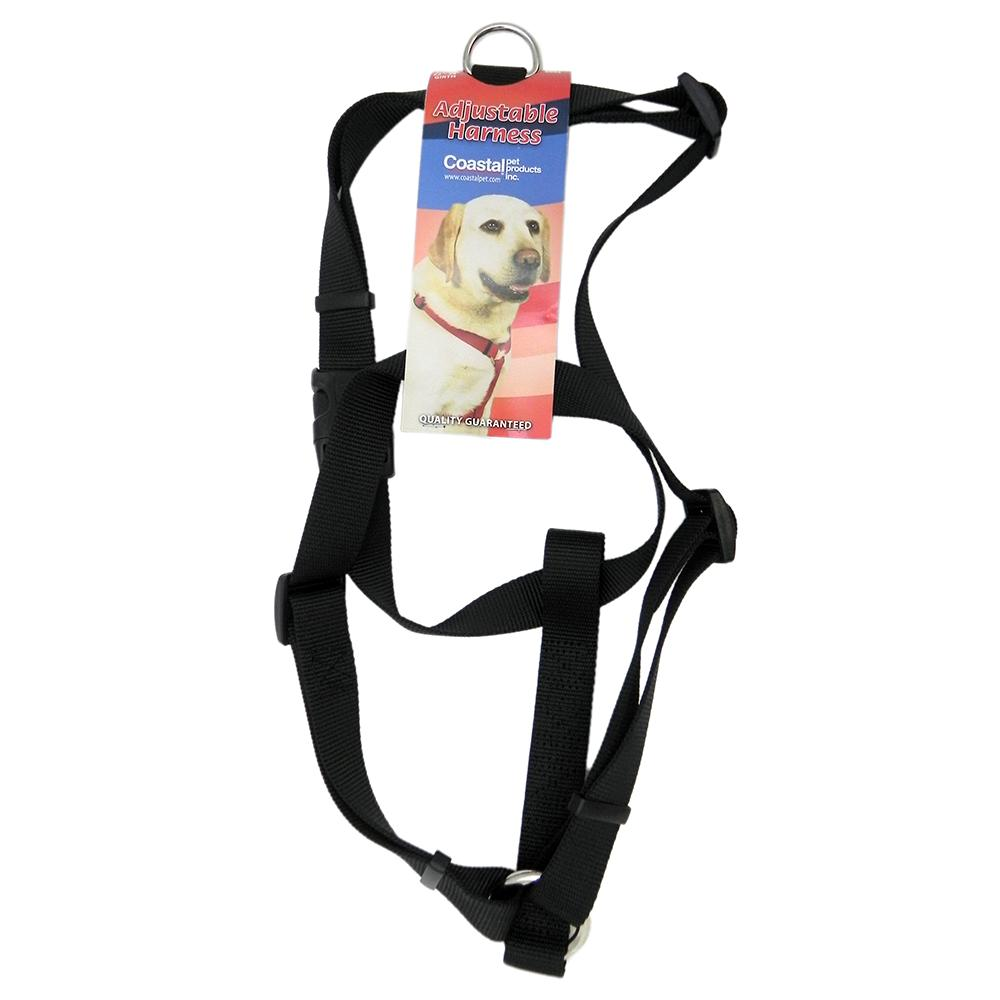 Adjustable Large Dog Harness 1-inch Black Nylon